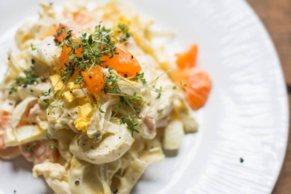 Rezept für Chicorée Salat mit Mandarinen und Ei