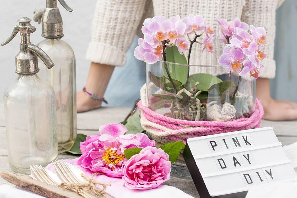 DIY Orchideen Tischdeko in Pink