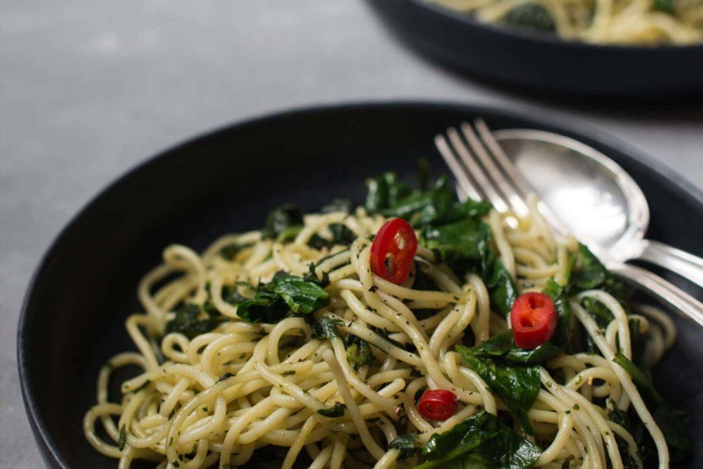 Rezept für Spaghetti Aglio Olio mit Spinat