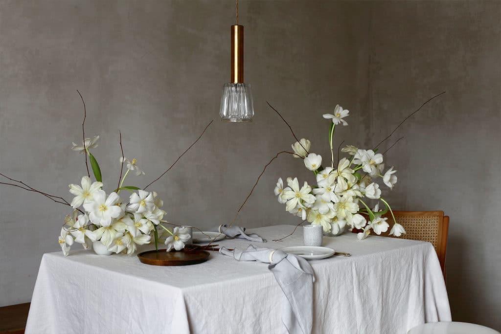 DIY Tischdeko aus Tulpen für die Küchenparty