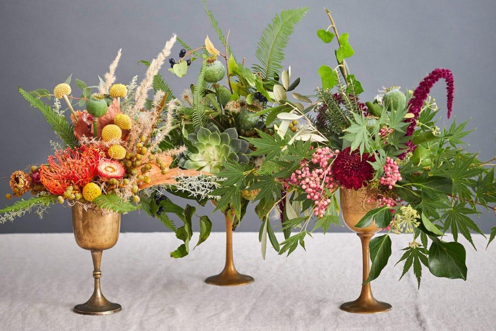 DIY Vintage Kelch mit Herbstblumen