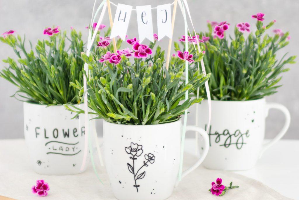 Mittsommer Idee: DIY Blumengeschenk in der Tasse basteln